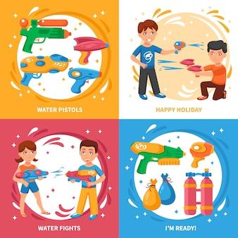 Elementy pistoletów wodnych i dzieci