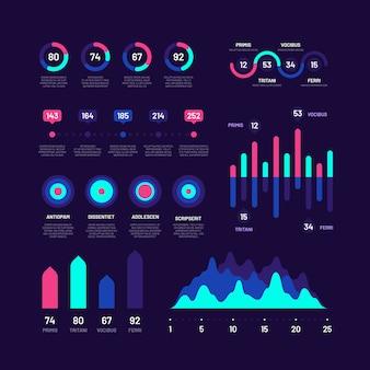 Elementy plansza. wykresy słupkowe marketing infografiki, wykresy kołowe, opcje schematy przepływu pracy z procentami, koło wektor zestaw diagramów