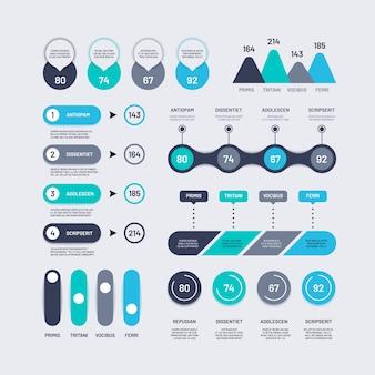 Elementy plansza. wykresy słupkowe na osi czasu schemat blokowy z diagramami procentowymi, liczbowymi i ikonami.