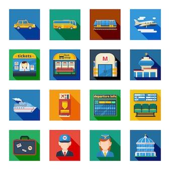 Elementy płaskiego placu transportu pasażerskiego