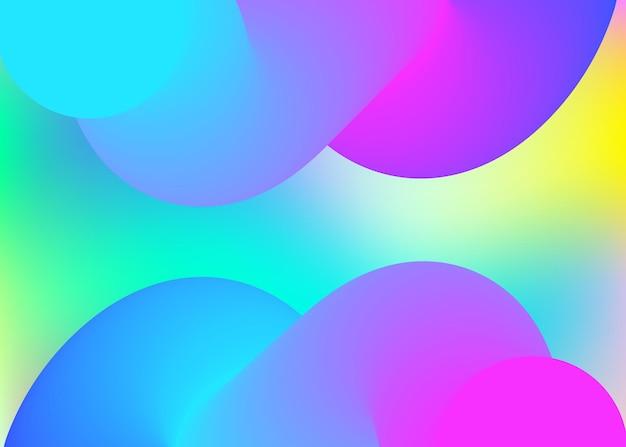 Elementy płynne. holograficzne tło 3d z nowoczesną modną mieszanką. żywa siatka gradientu. tęcza transparent, projekt książki. płynne tło elementów o dynamicznych kształtach i płynie.