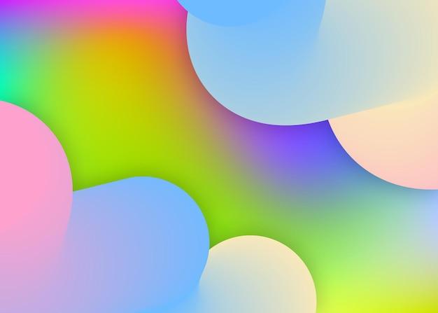 Elementy płynne. żywa siatka gradientu. holograficzne tło 3d z nowoczesną modną mieszanką. baner biznesowy, okładka. płynne tło elementów o dynamicznych kształtach i płynie.