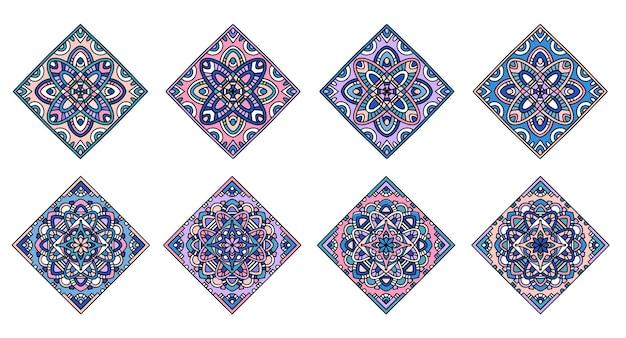 Elementy płytek islamskich. ozdoba mandali. vintage elementy dekoracyjne. ręcznie rysowane arabskie motywy.