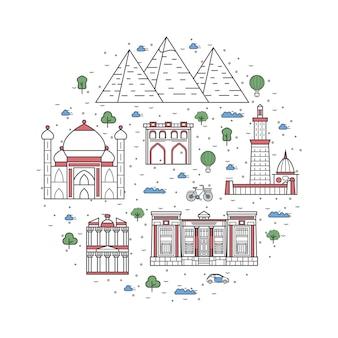 Elementy podróży w egipcie w stylu liniowym