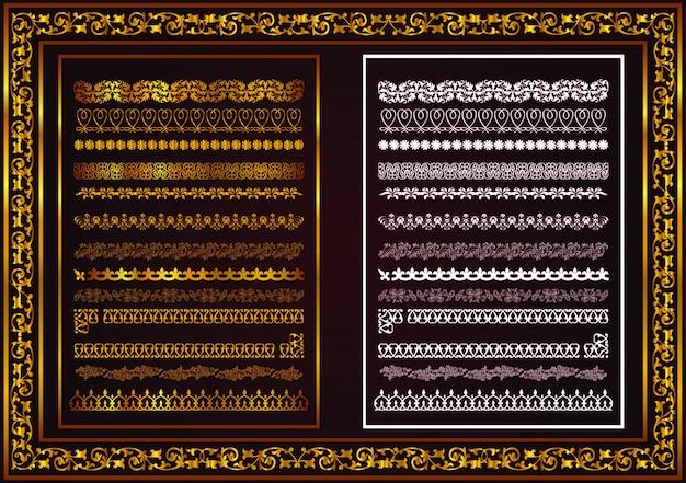 Elementy poziome linii projektowej biały kolor złoty