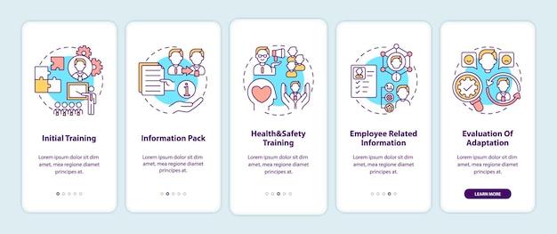 Elementy programu adaptacji pracowników wprowadzające ekran strony aplikacji mobilnej z koncepcjami. praca zespołowa. kroki przejścia procesu pracy. ilustracje szablonów interfejsu użytkownika