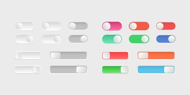 Elementy projektowania stron internetowych. przełącz ikony przełącznika. kolekcja przycisków wyłączania. układ przycisków suwaka.