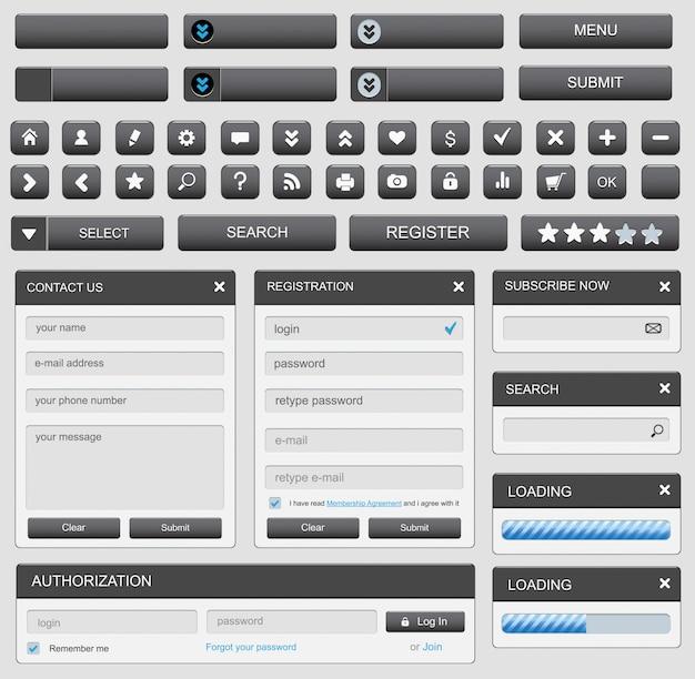 Elementy projektowania stron internetowych ustawione na czarno