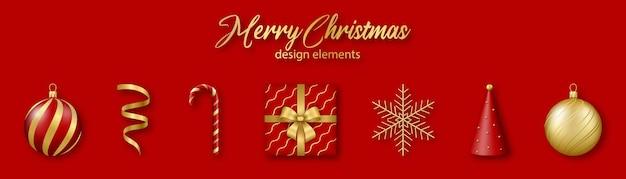 Elementy projektu boże narodzenie i nowy rok zestaw złotych i czerwonych realistycznych kształtów 3d