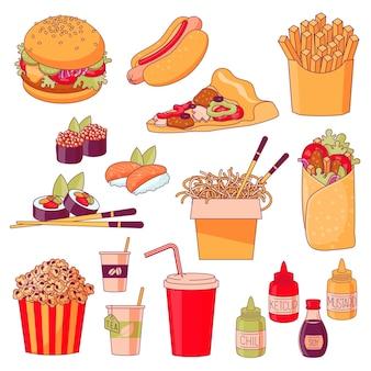 Elementy projektu dań menu fastfood