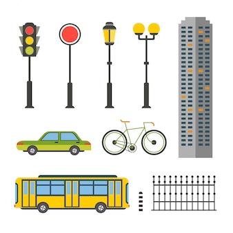 Elementy projektu dla ilustracji miasta lub mapy