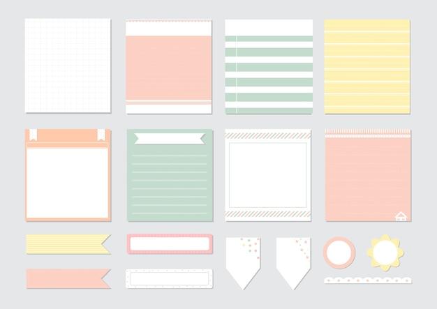 Elementy projektu do notebooka, pamiętnika, naklejek i innych szablonów.
