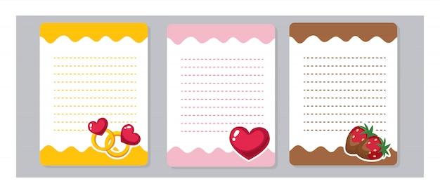Elementy projektu do notesu, pamiętnika, szablonu. słodkie papiery firmowe kawaii i kreskówki, gotowe do wiadomości. miłość, pierścionek, serce, czekoladowa truskawka.