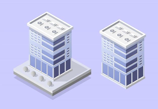 Elementy projektu gród z izometrycznym budynku