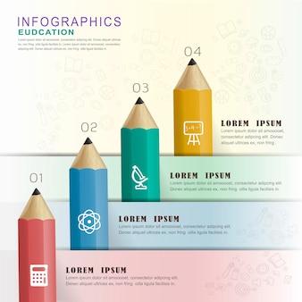 Elementy projektu infografiki edukacyjnej z kolorowymi ołówkami
