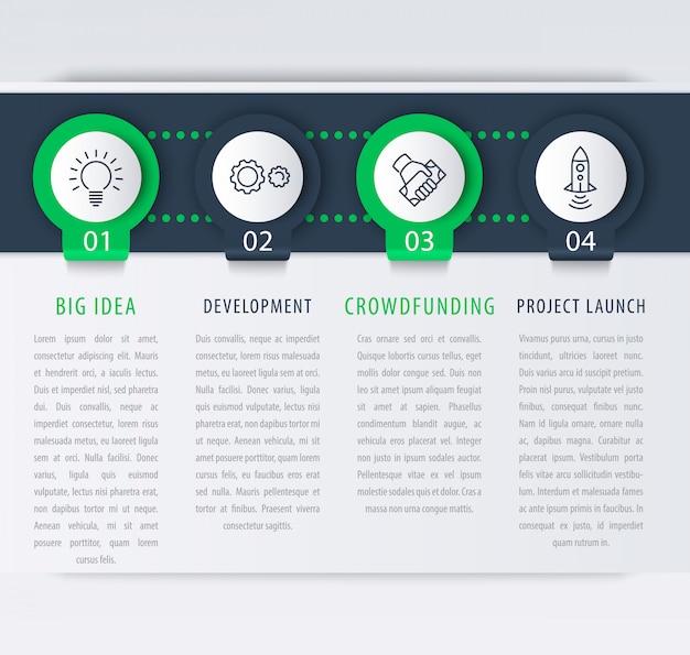 Elementy projektu infografiki startowej, kroki 1, 2, 3, 4, oś czasu, szablon biznes infografiki, ilustracja