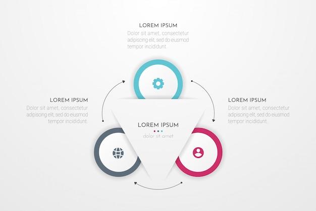 Elementy projektu infographic dla danych biznesowych z trzema opcjami koła, częściami, krokami, osiami czasu lub procesami. ilustracja.