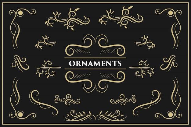Elementy projektu kaligraficzne vintage wiruje i przewija elementy ozdobne ozdobne elementy projektu