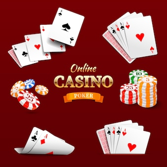 Elementy projektu kasyna żetony do pokera, karty do gry i kości.