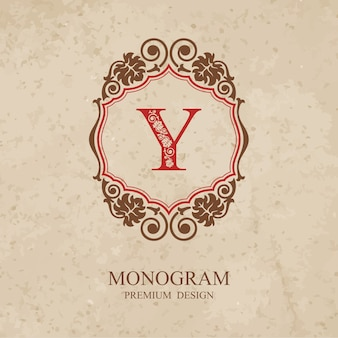 Elementy projektu monogram, wdzięczny szablon kaligraficzny, godło litery y,