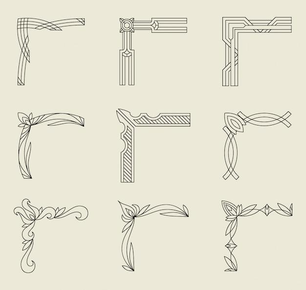 Elementy projektu narożników, rama w stylu vintage z pięknym filigranem, ozdobne obramowania.