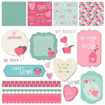 Elementy projektu notatnik miłość zestaw do kart, zaproszeń, pozdrowień
