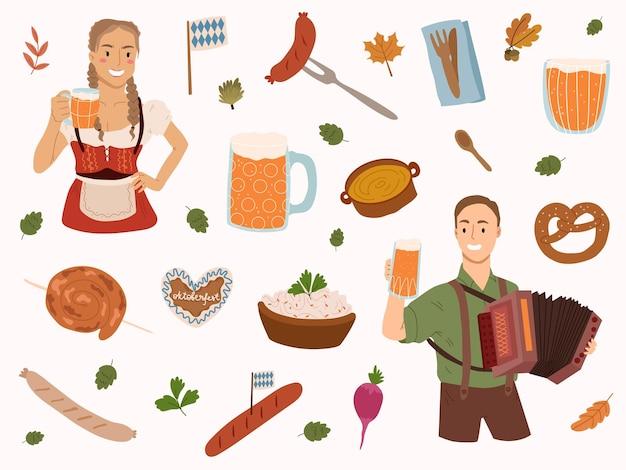 Elementy projektu oktoberfestdziewczyna trzyma piwomana gra muzykę tradycyjne festiwalowe jedzenie