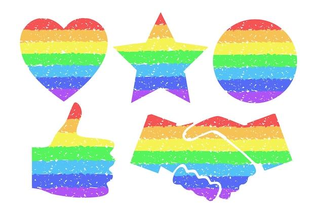 Elementy projektu tęczy. kolorowe kółko, serce, gwiazda, kciuk w górę, uścisk dłoni. gay homoseksualne symbole pojęcie tolerancji. element graficzny do dokumentów, szablonów, plakatów. ilustracja wektorowa