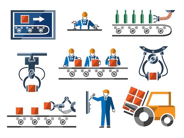Elementy przemysłowe i inżynieryjne ustawione w stylu płaskiej.