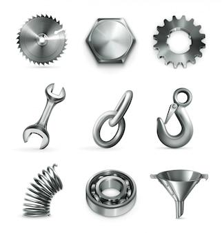 Elementy przemysłu ustawione na białym tle