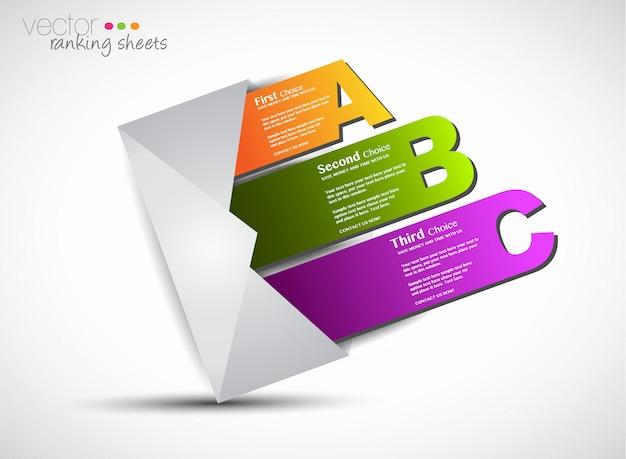 Elementy rankingu w stylu papieru z rzeczywistym efektem cięcia papieru do wyświetlania 3 różnych opcji.