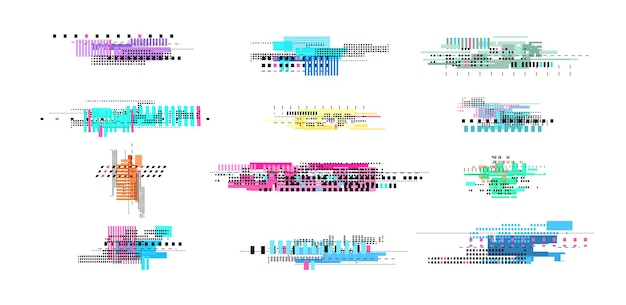 Elementy rozpadu cyfrowego. usterka geometryczna, efekt szumu abstrakcyjnego telewizora. retro tekstura pikseli, na białym tle zepsute zniekształcone elementy wektorów wideo. zanikanie uszkodzeń glitch, ilustracja tekstury zniekształceń