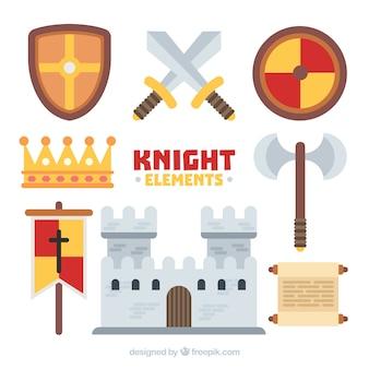 Elementy rycerzy płaskich i zamek