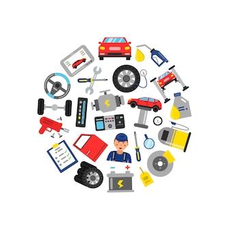 Elementy serwisu samochodowego zebrane w kółko