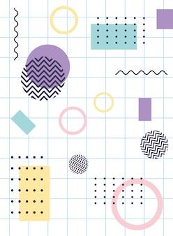 Elementy skład geometryczny memphis lata 80. 90. styl abstrakcyjna siatka