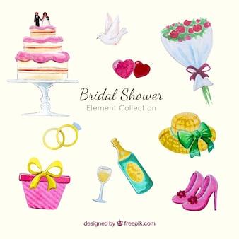Elementy ślubne akwarelowe opakowanie i wesele prysznicem