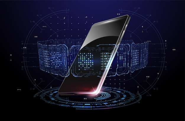 Elementy smartfona i hud hologram z telefonem komórkowym