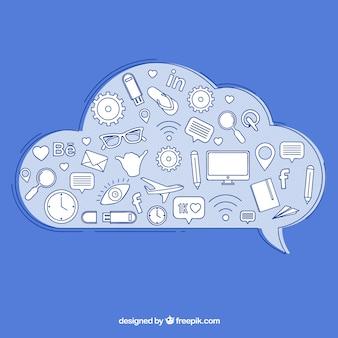 Elementy społecznościowe w kształcie chmurki z ikonami