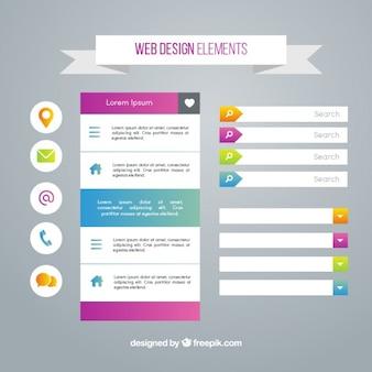 Elementy stron internetowych z kolorowymi dodatkami