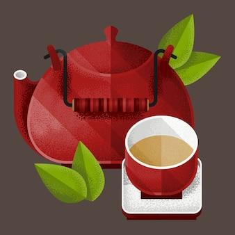 Elementy strony zielonej herbaty