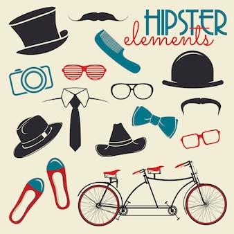 Elementy stylu hipster i ikony
