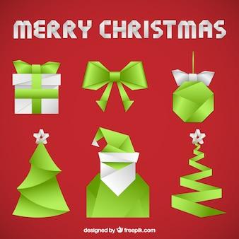 Elementy świąteczne origami kolekcja