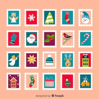Elementy świąteczne znaczki pocztowe