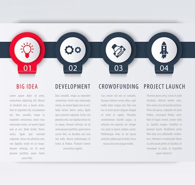 Elementy szablonu infografiki startowej, kroki, oś czasu, ilustracja