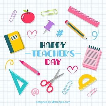Elementy szkolne na arkuszu notebooka, dzień nauczyciela