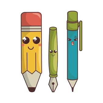 Elementy szkolne śmieszne postacie