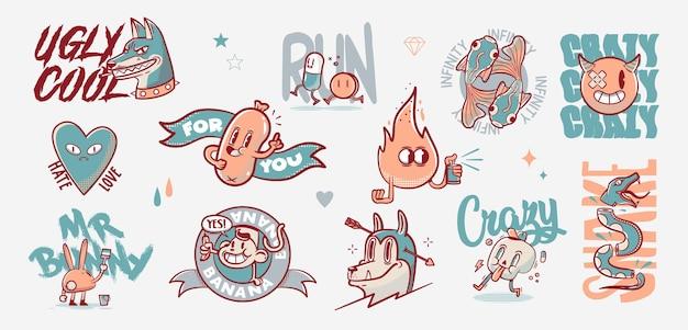 Elementy tatuażu starej szkoły. tatuaże z kreskówek w śmiesznym stylu. ilustracja wektorowa.