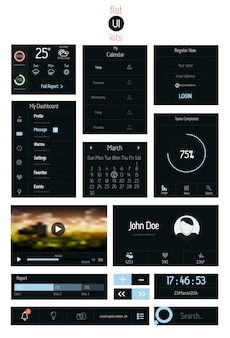 Elementy ui dla sieci web i mobile. ikony i przyciski. płaski projekt.