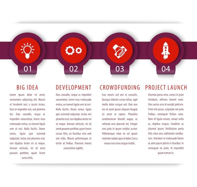 Elementy uruchamiania infografiki, 1, 2, 3, 4 kroki, oś czasu, ilustracja