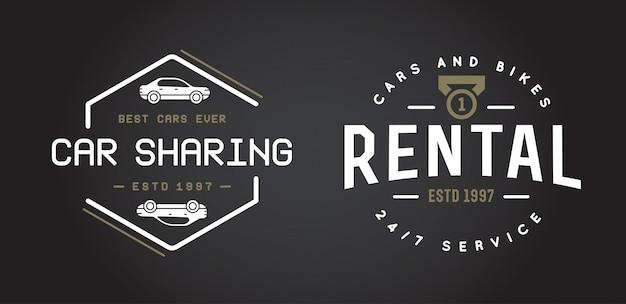 Elementy usługi wynajmu samochodów mogą być używane jako logo lub ikona o najwyższej jakości